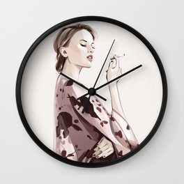 Woman with a cigarette   Fashion illustration Wall Clock