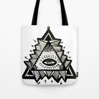 third eye Tote Bags featuring Third Eye by Eco Juliet