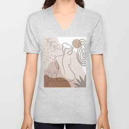 Set of naked woman sitting back one line. Poster cover. Minimal woman body. One line drawing. No 2/3 Unisex V-Neck