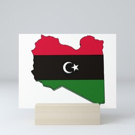 Libya Map with Libyan Flag Mini Art Print