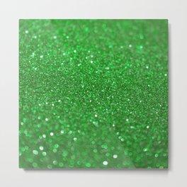 Bright Green Glitter Metal Print