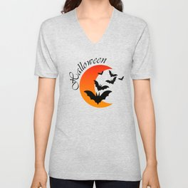 Blood bats and a bloody moon - Halloween  Design Unisex V-Neck