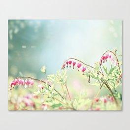 Bleeding Heart Flower Photography, Pink Blue Green Aqua Pastel, Floral Nursery Nature Spring Canvas Print
