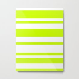 Mixed Horizontal Stripes - White and Fluorescent Yellow Metal Print