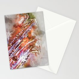 Sax watercolor Stationery Cards