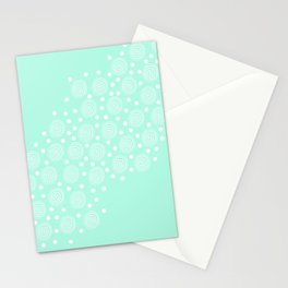 Circles in Circles on Pastel Teal Stationery Cards
