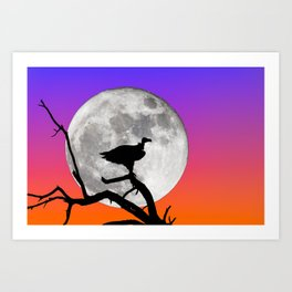 Vulture with Supermoon Art Print