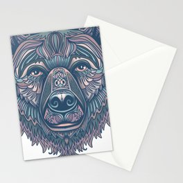 Bear lovers illustration/ hand drawn bear face/ pink, teal blue Stationery Cards