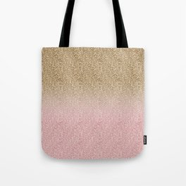 Elegant Rose Gold and Gold Glitter Sparkles Gradient Image Tote Bag