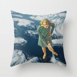 Spraying snow on the mountains Throw Pillow