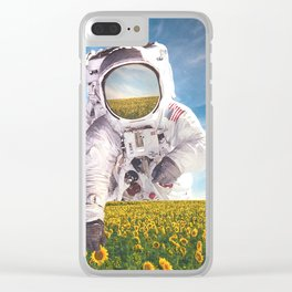 Picking Flowers-Astronaut and the Sunflower Field Clear iPhone Case