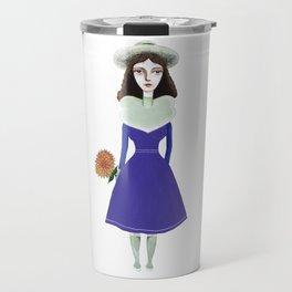 A girl in retro fashion Travel Mug