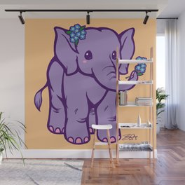 Baby Elephant has Forget Me Nots Wall Mural