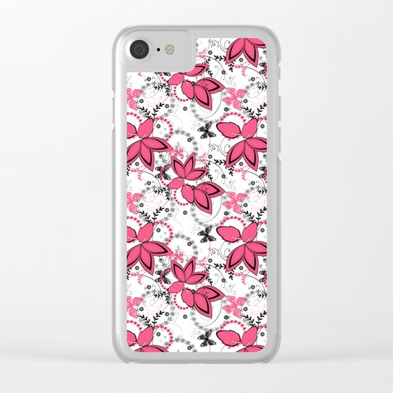 Pink black and white floral pattern . Clear iPhone Case