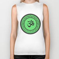 islam Biker Tanks featuring Black And Green Islam Religious Symbol by ArtOnWear