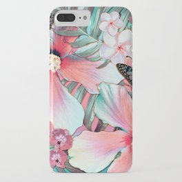 Peachy Mint Hibiscus Tropical iPhone Case