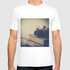 Vintage Nikon Camera and Old Books Mens Fitted Tee White MEDIUM