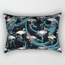 Pink Flamingos Pattern Elegant Baroque Flourish Rectangular Pillow