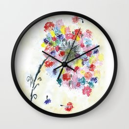 Dandelion watercolor illustration, rainbow colors, summer, free, painting Wall Clock