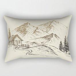 Vector of Mountain Landscape Rectangular Pillow