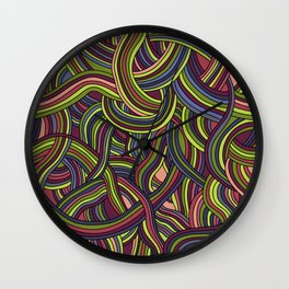 seamless pattern of tangled smooth strips Wall Clock
