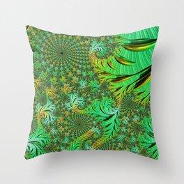 Green Fractal Throw Pillow