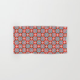 Retro Kitchen Check Cloth , Vintage Red & Blue Chequerboard Daisy flower Pattern Hand & Bath Towel