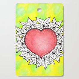 Watercolor Doodle Art | Heart Cutting Board