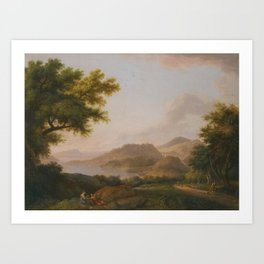 Casati An Extensive Pastoral River Landscape With a Man Walking His Dog Along a Path To The, 1788 Art Print