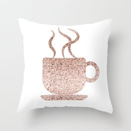 Sparkling rose gold coffee mug Throw Pillow