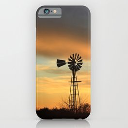 Colorful Kansas Sunset with a Windmill Silhouette. iPhone Case