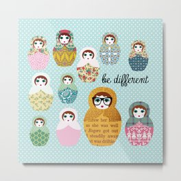 Be different russian dolls collage Metal Print