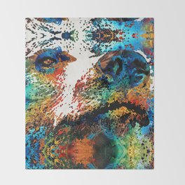 Colorful Bear Art - Bear Stare - By Sharon Cummings Throw Blanket