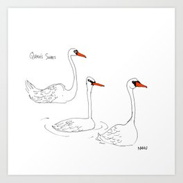 Queen's Swans Art Print