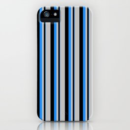 Blue, Black, and Grey Colored Striped Pattern iPhone Case