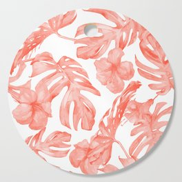 Tropical Hibiscus and Palm Leaves Dark Coral White Cutting Board