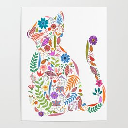 Fancy And Fine Flowered Cat Garden Design Poster