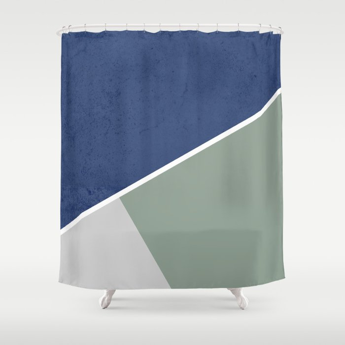Navy Sage Gray Geometric Shower Curtain