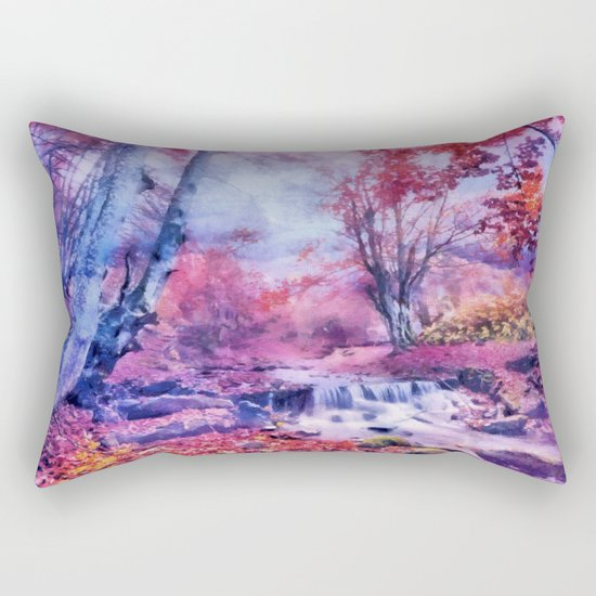 Waterfall in colorful autumn forest Rectangular Pillow