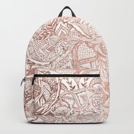 Chic hand drawn rose gold floral mandala pattern Backpack