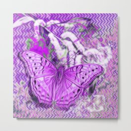 Ultra-violet butterfly and abstract background Metal Print