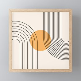 Geometric Lines in Black and Beige 24 (Rainbow and Sun Abstraction) Framed Mini Art Print