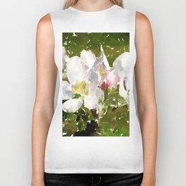 White Apple Blossoms Biker Tank