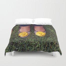 Yellow Flower Shoe! Duvet Cover
