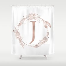 letter j rose gold pink initial monogram shower curtain