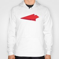 plane Hoodies featuring Paper plane by Becky Gibson