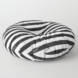 Marble Stripes Pattern - Black and White Floor Pillow
