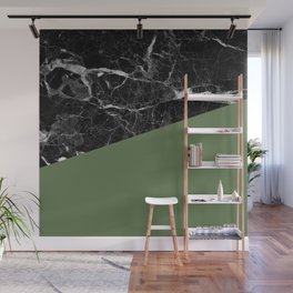 Black Marble and Kale Color Wall Mural