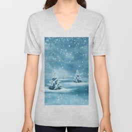 Christmas Winter Wonderland Snow Night Unisex V-Neck