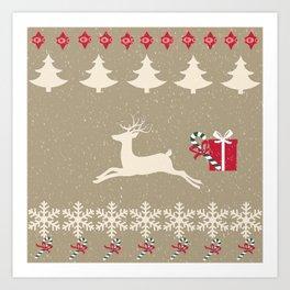 Rain deer Candy Cane - Cream Puff Art Print